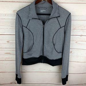 Zella   Black White Stripe Cropped Workout Jacket